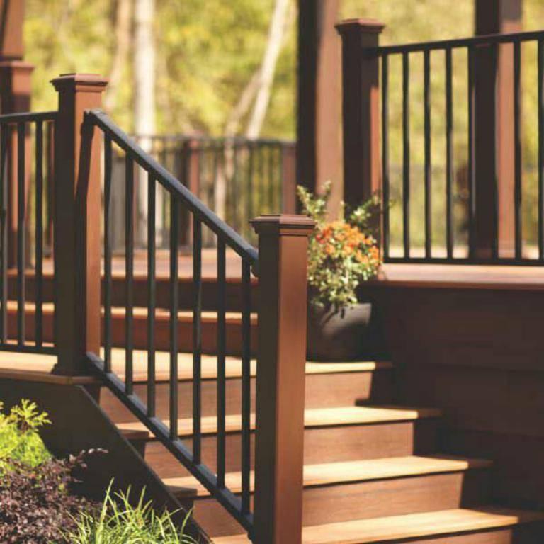 حفاظ راه پله مشکی با دسته قهوه ای